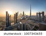 sunrise colors over dubai... | Shutterstock . vector #1007343655