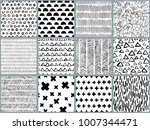 set of vector black white hand... | Shutterstock .eps vector #1007344471