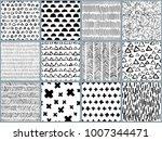 set of vector black white hand... | Shutterstock .eps vector #1007344471