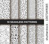 set of ten vector seamless... | Shutterstock .eps vector #1007349085