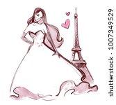 girl in paris. love design.... | Shutterstock . vector #1007349529