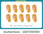 set of woman expression... | Shutterstock .eps vector #1007350504