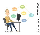 isolated happy programmer... | Shutterstock .eps vector #1007353009