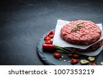 raw burger cutlet from beef... | Shutterstock . vector #1007353219