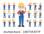 construction worker set. posing ... | Shutterstock .eps vector #1007353579