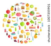 tasty food  grocery products ... | Shutterstock . vector #1007355901