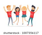 friends congratulating each... | Shutterstock . vector #1007356117