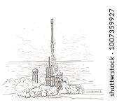 rocket launch hand drawn ...   Shutterstock .eps vector #1007359927