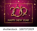 2019 happy new year background... | Shutterstock .eps vector #1007372029