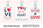 set of creative valentines day...   Shutterstock .eps vector #1007375251