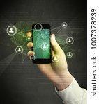 caucasian hand in business suit ... | Shutterstock . vector #1007378239