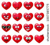 emoji red hearts. cute... | Shutterstock .eps vector #1007385775