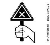 hand with roadsign | Shutterstock .eps vector #1007389171