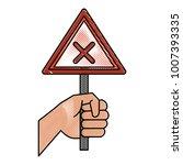 hand with roadsign | Shutterstock .eps vector #1007393335