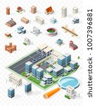 build your own isometric city . ... | Shutterstock .eps vector #1007396881