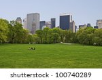 """""""Spring Sheep Meadow"""" A Spring view of the lawn on Sheep Meadow in Central Park. - stock photo"""
