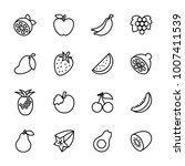 line icon set popular fruit.... | Shutterstock .eps vector #1007411539