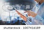 digital business chart hologram | Shutterstock . vector #1007416189