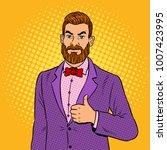 stylish man with beard showing... | Shutterstock . vector #1007423995