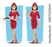 flying attendants   air hostess ... | Shutterstock .eps vector #1007425441