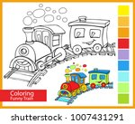 coloring funny train. children... | Shutterstock .eps vector #1007431291