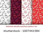 valentine doodle pattern set....