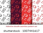 valentine doodle pattern set....   Shutterstock .eps vector #1007441617