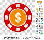 dollar casino chip pictograph...