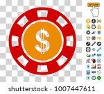 dollar casino chip pictograph...