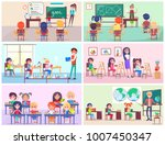 kids study language  draw at... | Shutterstock . vector #1007450347