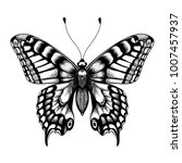 silhouette of butterfly. tattoo ... | Shutterstock .eps vector #1007457937