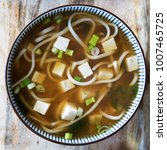 red miso soup with tofu  green... | Shutterstock . vector #1007465725