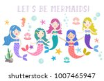cute vector mermaids with under ... | Shutterstock .eps vector #1007465947