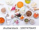 set of healthy vegetarian food... | Shutterstock . vector #1007470645