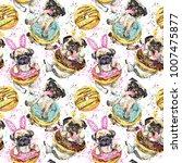 Stock photo cute little dog watercolor seamless pattern 1007475877