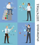 four banners with busy people...   Shutterstock .eps vector #1007479561