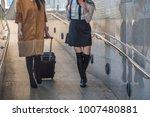 two passenger woman  walking in ...   Shutterstock . vector #1007480881