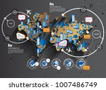 world map infographic | Shutterstock .eps vector #1007486749