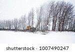an industrial bulldozer pushing ... | Shutterstock . vector #1007490247