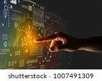 female finger touching a beam... | Shutterstock . vector #1007491309
