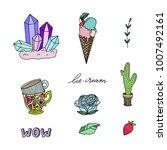 set of hand drawn cute modern... | Shutterstock .eps vector #1007492161