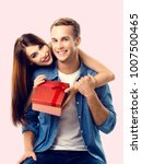 happy couple with gift box ... | Shutterstock . vector #1007500465