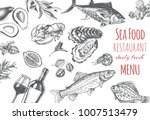 sketch cover menu of seafood... | Shutterstock .eps vector #1007513479