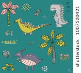 cartoon pattern with dinosaurs. ... | Shutterstock .eps vector #1007520421