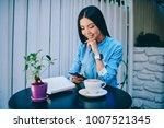 beautiful smiling brunette... | Shutterstock . vector #1007521345