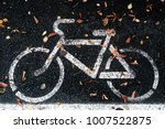Small photo of Bicycle lane or path and white bike symbol. Bicycle path and autumn fallen leafs on lane. Bike lane or bicycle road sign on path. Bicycle sign on black lane in the park. Bike symbol on cycle path.