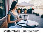 smiling female freelancer...   Shutterstock . vector #1007524324