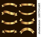 set of golden ribbons vector. | Shutterstock .eps vector #1007541685