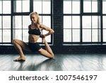 beautiful athletic blonde... | Shutterstock . vector #1007546197