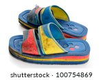 dirty old beach shoes on a... | Shutterstock . vector #100754869